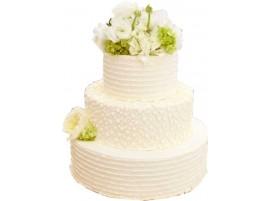 Свадебный торт с рисованными узорами и белыми цветами