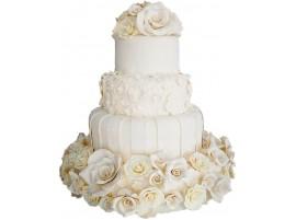 Свадебный торт с белыми цветами из мастики