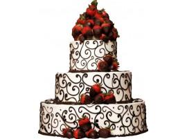 Свадебный торт ягодный со свежей клубникой в шоколаде
