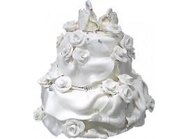 Свадебный торт с фигурками лебедей № 118