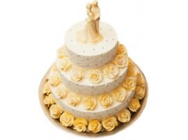 Свадебный торт c нежными золотистыми розами