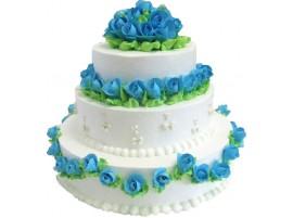 Свадебный торт в зеленых и голубых тонах
