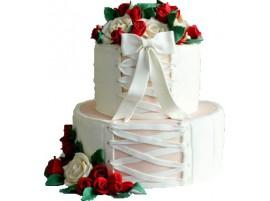Свадебный торт, выполненный в виде корсета