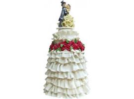 Высокий свадебный торт с фигурками № 552