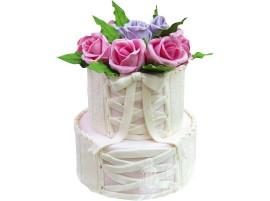 Свадебный торт с розовыми розами № 554