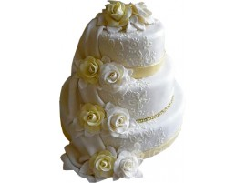 Трехъярусный свадебный торт с белыми розами № 571