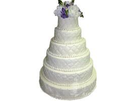 Многоярусный высокий белый свадебный торт № 573