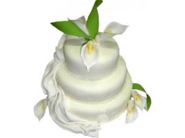 Трехъярусный белый свадебный торт с лилией № 595
