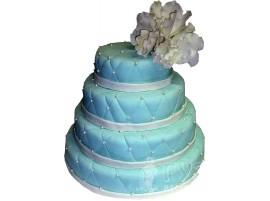 Свадебный торт нежно-голубой многоярусный № 598