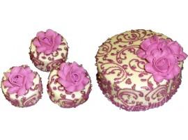 Свадебный торт с мини-пирожными с розовыми цветами № 602