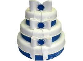 Многоярусный бело-синий свадебный торт № 606