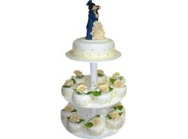 Свадебный торт с капкейками на подставке № 608