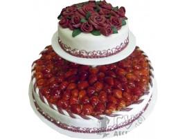 Свадебный торт со свежими ягодами № 617
