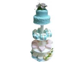 Свадебный торт с розовыми и голубыми капкейками на подставке № 618