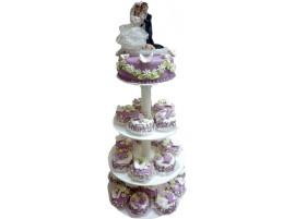 Свадебный торт фиолетовый с капкейками на подставке № 620