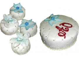 Белый свадебный торт с пирожными № 624