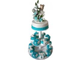 Бело-голубой свадебный торт с капкейками на подставке № 639