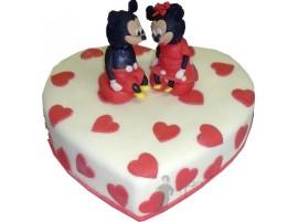 Свадебный торт в виде сердца с Микки Маусом № 656