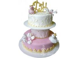 Бело-розовый свадебный торт на подставке № 661