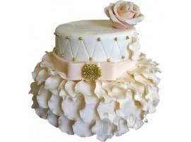 Свадебный торт с розовым цветком, двухъярусный № 663