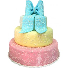 Свадебный торт с голубым бантом трехъярусный № 200