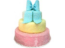 Трехъярусный свадебный торт с голубым бантом № 200
