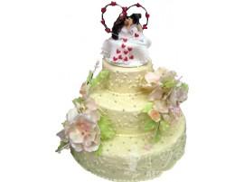 Бежевый трехъярусный свадебный торт № 202