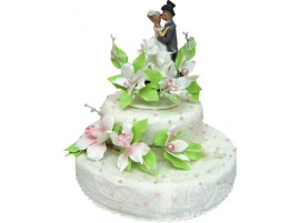 Белый свадебный торт с фигурками № 203