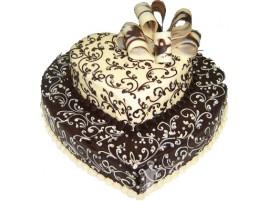 Двухъярусный свадебный торт в виде сердца № 219