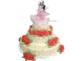 Свадебный торт с розами трехъярусный № 119