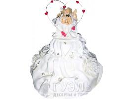 Белый свадебный торт с фигурками № 240