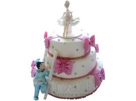 Трехъярусный белый свадебный торт с розовыми бантами № 241