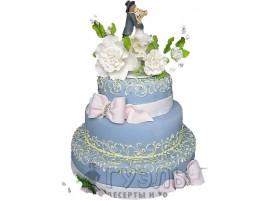 Трехъярусный синий свадебный торт № 276