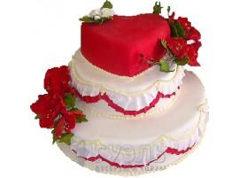 Свадебный торт с сердцем № 305