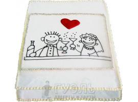 Белый одноярусный свадебный торт № 307