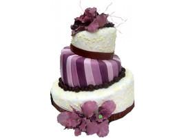 Фиолетовый трехъярусный свадебный торт № 309