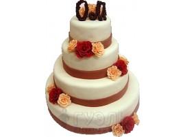 Многоярусный свадебный торт с цветами № 311