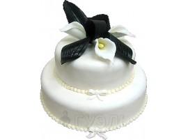 Белый свадебный торт с лилиями № 313
