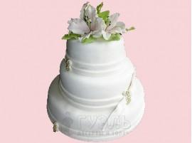 Белый трехъярусный свадебный торт № 340