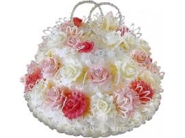 Нежный свадебный торт из сливок с цветами № 80