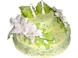 Зеленый свадебный торт с фигурками лебедей № 81