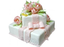 Свадебный торт с розовым бантом № 362