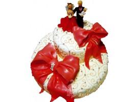 Двухъярусный свадебный торт с красными бантами № 120