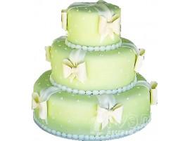 Свадебный торт мятного цвета трехъярусный № 121