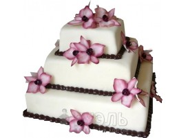 Квадратный белый свадебный торт с розовыми цветами № 390