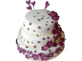 Трехъярусный свадебный торт с розовыми цветами № 405
