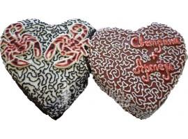 Двойной свадебный торт в виде сердец № 406