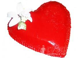 Свадебный торт в форме сердца красный с мастикой № 148