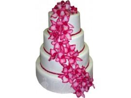 Многоярусный бело-розовый свадебный торт с цветами № 408