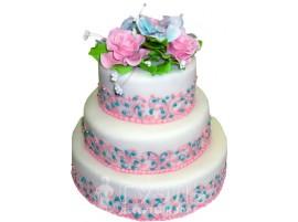 Трехъярусный свадебный торт с цветами № 410